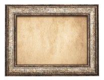 Vintage wooden frame on old paper Stock Image