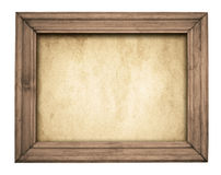 Vintage wooden frame on old paper Royalty Free Stock Photo