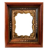 Vintage wooden Frame with ornate insert Royalty Free Stock Photos