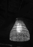 Vintage wooden hanging ceiling lamp black&white Stock Photos