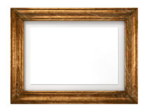 Vintage Wooden Image Frame Isolated on White. Royalty Free Stock Photography
