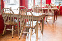 Vintage wooden kitchen chair and table Stock Images