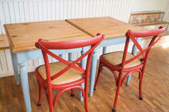Vintage wooden kitchen table and chair Stock Photos