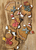 Vintage Wooden Lady and Man Christmas Decorations Royalty Free Stock Photo