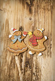 Vintage Wooden Lady and Man Christmas Decorations Royalty Free Stock Photos
