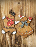 Vintage Wooden Lady and Man Christmas Decorations Stock Photos