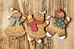 Vintage Wooden Lady and Man Christmas Decorations Stock Photography