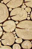 Vintage Wooden Log Cabin  Wall With Cross Section Rounded Elemen Stock Photos