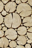 Vintage Wooden Log Cabin  Wall With Cross Section Rounded Elemen Stock Image
