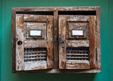 Vintage wooden mailbox on wall Royalty Free Stock Photos