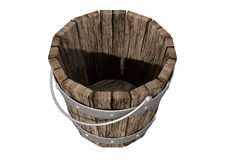Vintage Wooden and Metal Bucket Stock Images