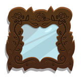 Vintage wooden mirror with floral patterns Stock Photography