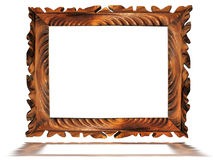 Vintage wooden old frame isolated on white Royalty Free Stock Photos