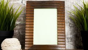 Vintage wooden photo frame. Dolly parallax footage of vintage wooden photo frame stock footage
