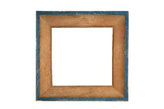 Vintage wooden picture frame with blue edges Royalty Free Stock Images