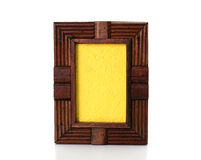 Vintage wooden picture frame on  white background Stock Photo