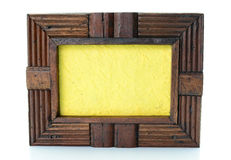 Vintage wooden picture frame on  white background Stock Photos
