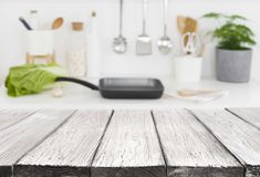 Free Vintage Wooden Planks In Front Of Defocused Kitchen Counter Background Stock Photography - 139439972
