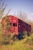 Vintage wooden railway wagon derelict Stock Image