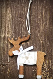 Vintage Wooden Reindeer Christmas Decoration Royalty Free Stock Photography