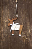 Vintage Wooden Reindeer Christmas Decoration Stock Images