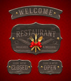 Vintage Wooden Restaurant Signs Stock Photography