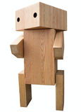 Vintage wooden robot stock image