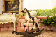 Vintage wooden rocking horse toy Stock Photo