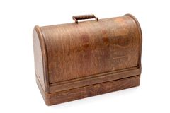 Vintage wooden sewing machine case Royalty Free Stock Photos