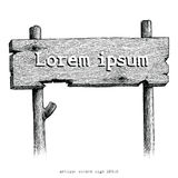 Vintage wooden sign hand drawing engraving illustration. Clip art isolated on white background Stock Photography