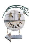 Vintage wooden sign toilet isolated on a white background Royalty Free Stock Image