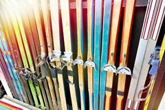 Vintage wooden skis in shop. Vintage wooden skis in the shop royalty free stock images