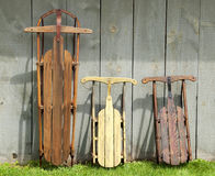 Vintage wooden sleds Stock Images