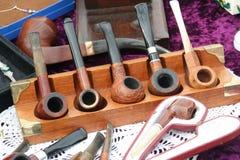 Vintage wooden smoking pipes. Stock Photo