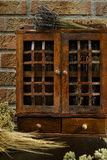 Vintage Wooden Spice Rack or Storage Cabinet Stock Images