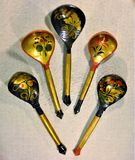 Vintage wooden spoons. Handmade copies Painted under the crest Gzhel and other old Russian painting stock photo