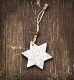 Vintage Wooden Star Christmas Decoration Stock Photography