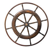 Vintage wooden steering wheel isolated on white Royalty Free Stock Photography