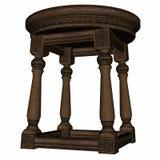 Vintage wooden stool - 3D render. Vintage wooden stool isolated in white background - 3D render stock illustration