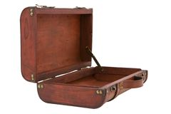 Vintage Wooden Suitcase Open on White Background