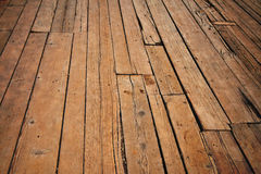 Vintage wooden surface with planks and gaps in perspective Royalty Free Stock Photos