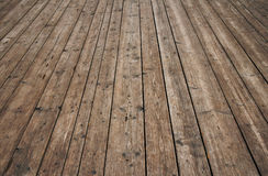 Vintage wooden surface with planks and gaps in perspective. Old vintage rustic aged antique wooden sepia surface with gaps in perspective Stock Photo