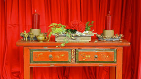 Vintage wooden table and decorations stock photos