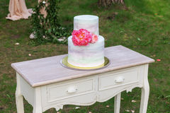 Vintage wooden table with the wedding cake Stock Photos