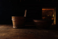Vintage wooden tableware Stock Photos