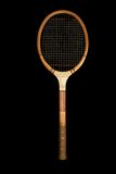 Vintage Wooden Tennis Racquet. Black iso Royalty Free Stock Photo