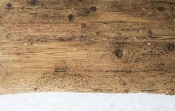 Vintage Wooden Texture, Background With Copy Space, Snow. Vintage Wooden Texture With Copy Space For Advertisement. Natural Wood Background With Snow royalty free stock photos