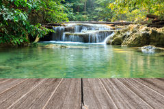 Vintage wooden texure with beautiful waterfall in morning Royalty Free Stock Photos