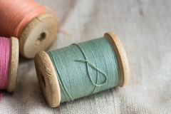Free Vintage Wooden Thread Spools On Linen Cloth, Pastel Colors, Closeup, Styled Image Stock Images - 89797554