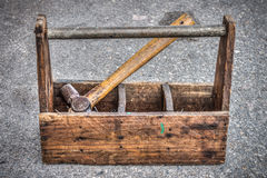 Vintage wooden toolbox Royalty Free Stock Photos